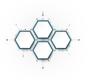 Vector molecule with 3D paper label, integrated Hexagon background Stock Photography
