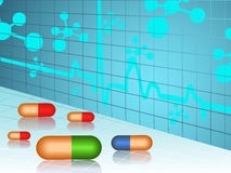 Vector molecule medical background with capsules Royalty Free Stock Image
