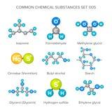 Vector Molekülstrukturen von den chemischen Substanzen, die auf Weiß lokalisiert werden Lizenzfreie Stockfotografie