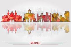 Vector Monaco City background. With cityscape silhouette Design Stock Photos