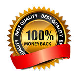 Vector 100% money back gold sign, label template Stock Photos