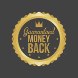 Vector Money Back Guarantee Gold Sign, Label.  Stock Photography