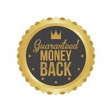 Vector Money Back Guarantee Gold Sign, Label.  Royalty Free Stock Image