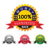 Vector money back guarantee gold sign set labele on white background. Vector money back guarantee gold sign labele on white background Royalty Free Stock Image