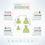 Vector money bags infographic template with icons set suitable for business presentations, reports, statistic layout Royalty Free Stock Photography