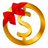 Vector money dollar sign Dollar coin icon with red bow, ribbon isolated on white background stock illustration