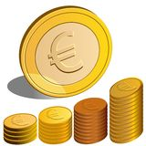 Vector Money euro. Vector Euro coins, one stands on the edge Stock Images