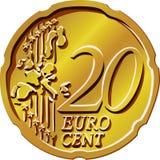 Vector Money eurocent gold coin twenty Stock Photos