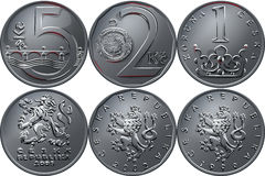 Vector Money five czech crones coin reverse Royalty Free Stock Image