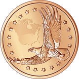 vector Money gold coin with the flying eagle Royalty Free Stock Images