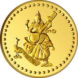 Vector Money gold coin with the image of Shiva Stock Photos