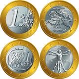 Vector money gold coin one euro Stock Photos