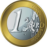 Vector  money gold coin one euro Stock Photography