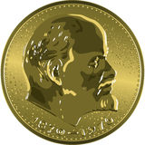 Vector money gold coin Soviet ruble with Lenin Stock Images