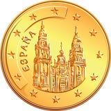 Vector  money gold coin Spanish euro Stock Photos