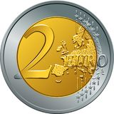 Vector money gold coin two euro Stock Image