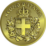 Vector money gold italian coin twenty Centesimo Royalty Free Stock Photography