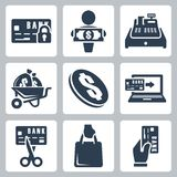 Vector money icons set Stock Photos