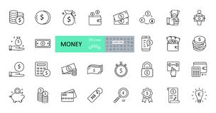 Free Vector Money Icons. Set Of 29 Images With Editable Stroke. Collection With Dollars, Euros, Coins, Bitcoin Royalty Free Stock Image - 175843706