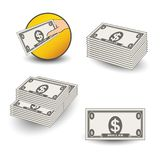 Vector money icons. Symbol of financial services, cash back, a package of money, dollars. Illustration Stock Photos