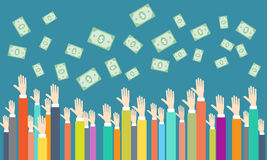 Vector money on people business. Money on people body part concept Royalty Free Stock Photography