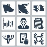 Vector money, stock exchange icons set Royalty Free Stock Photos