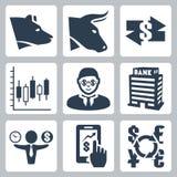 Vector money, stock exchange icons set. Vector  money, stock exchange icons set Royalty Free Stock Photos