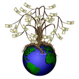 Vector money tree. On planet earth,isolated on white background Royalty Free Stock Photography