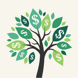 Vector money tree. Symbol of successful business Royalty Free Stock Image