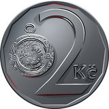 Vector Money two czech crones coin reverse Stock Image