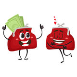 Vector money wallet character set illustration. Vector money wallet characters set flat illustration isolated on a white background. Expressive happy satisfied Royalty Free Stock Photography