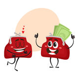 Vector money wallet character set illustration Royalty Free Stock Photo