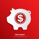 Vector moneybox with dollar sign. Time is money. Vector illustration Royalty Free Stock Images