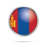 Vector Mongolian flag Button. Mongolia flag in glass button styl Stock Photos