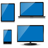 Vector monitor, laptop, tablet computer and mobile phone Royalty Free Stock Photos