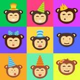 Vector monkey head icon. Royalty Free Stock Photos