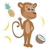 Vector Monkey Illustration Royalty Free Stock Images