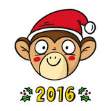 Vector monkey in Santa's hat, chinese new year 2016 symbol, isol Stock Image