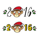 Vector monkey in Santa's hat, chinese new year 2016 symbol, lett Stock Photo