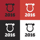 Vector monkey of 2016 year Stock Photography