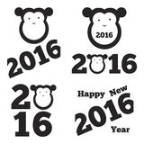 Vector monkey of 2016 year. Monkey with text, 2016, happy new year, flat style Royalty Free Stock Images