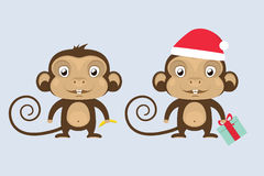 Vector Monkeys In Red Santa`s Hat. Christmas Royalty Free Stock Photo
