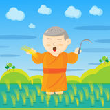 Vector : Monks and paddy Royalty Free Stock Photos