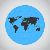 Vector mono blue illustration of Earth made. Royalty Free Stock Photos