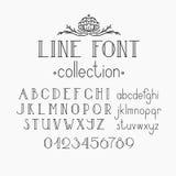 Vector mono line decorative font and numerals. Stock Photo