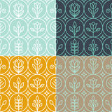 Vector mono line graphic design templates. Decorative backgrounds with simple linear patterns Stock Images