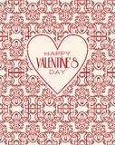 Vector mono line graphic design templates. Happy. Happy valentines day cards with ornaments. Vector  line graphic design templates - decorative backgrounds with Royalty Free Stock Photos