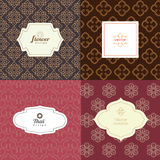 Vector mono line graphic design templates - labels and badges Stock Images