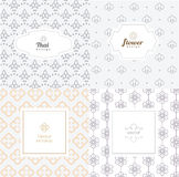 Vector mono line graphic design templates - labels and badges Royalty Free Stock Photo