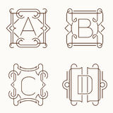 Vector mono line monograms. A, B, C, D. Royalty Free Stock Image